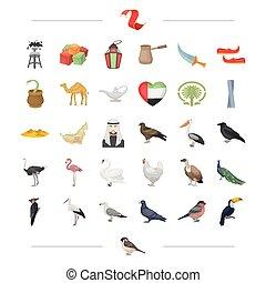 web, set, zakenbeelden, collection., vlucht, toetjes, reizen, anderen, rusten, style., amusement, spotprent, pictogram