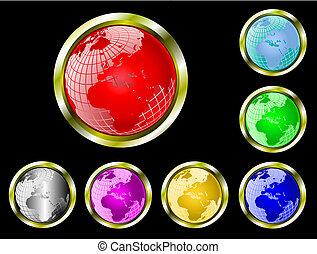 web, sette, set, filo, globo, maglia, bottoni, vettore, terra