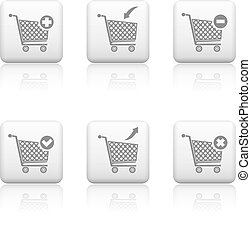 Web shop buttons, shopping cart icons