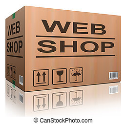 web shop cardboard box online shopping and placing order on...