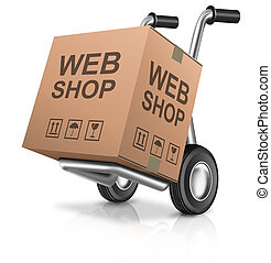 web shop icon online internet shopping concept cardboard box with text on a hand truck e-commerce