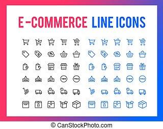 web, shoppen, beweeglijk,  App,  -,  Vector,  Online, Ontvankelijk, lijn, pictogram