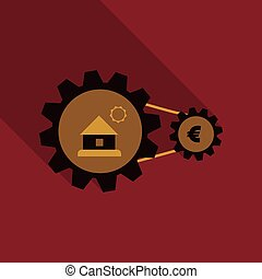 web sign icon button with house and coin into