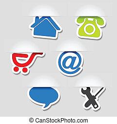 web, -, simboli, vettore, sagoma, navigazione