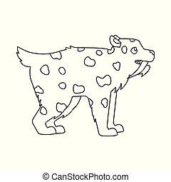 web., simbolo, leopardo, illustrazione, dente, vettore, collezione, animale, icon., casato