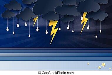 web-site, 風暴, 黃色, sky., 雲, 藝術, 看法, 點燃, 矢量, 工藝, 紙, 季節, 多雨, 海景, style., 黑色, 藍圖, 插圖, 海, 閃電, 海報