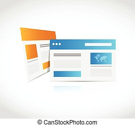 web site browser illustration design over a white background