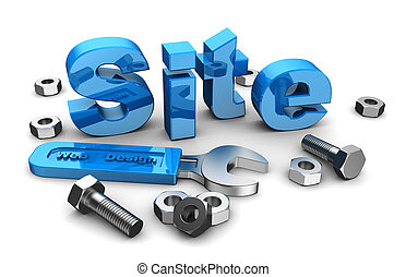 Web site design: blue word site with work tools