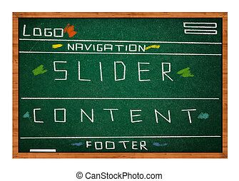 Web site design conceptual drawing on green chalkboard with ...
