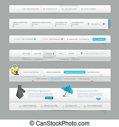 web site design template navigation elements with icons
