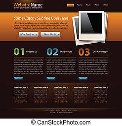 web site design template - orange theme - editable vector