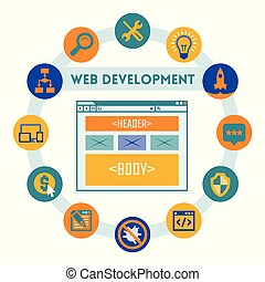 Web site development concept vector illustration in flat style