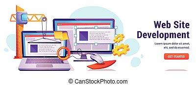 Web site development, programming or coding banner