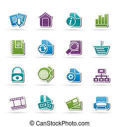 web site, e, ícones internet