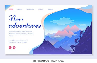 Web site for travelers concept. New adventures banner, website, poster template, web page design