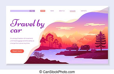 Web site for travelers concept. Travel by car banner, website, poster template, web page design