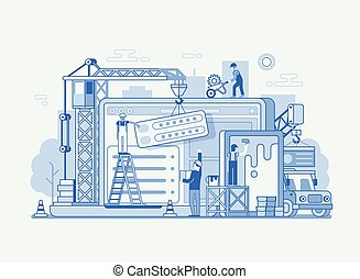 Web Site Interface Building Illustration