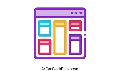 web site layout Icon Animation. color web site layout animated icon on white background