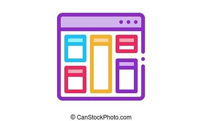 web site layout Icon Animation. color web site layout animated icon on white background