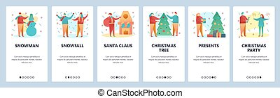 Web site onboarding screens. Christmas and new year party. Snowman, santa claus and christmas tree. Menu vector banner template for website and mobile app development. Modern design flat illustration.