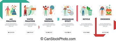 Web site onboarding screens. Ecology, Air and water pollution, industrial waste, global warming. Menu vector banner template for website and mobile app development. Modern design flat illustration.