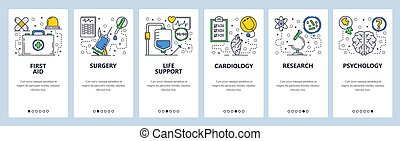 Web site onboarding screens. First aid, medical clinic, hospital, surgery. Menu vector banner template for website and mobile app development. Modern design linear art flat illustration.