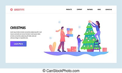 Web site onboarding screens. Happy family decorate christmas tree. Merry christmas and happy new year. Menu vector banner template for website and mobile app development. Modern design linear art flat illustration.