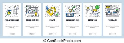 Web site onboarding screens. Proofreading, settings and feedback. Menu vector banner template for website and mobile app development. Modern design linear art flat illustration