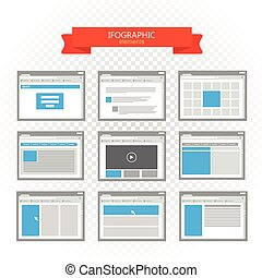 Web site page templates collection. Infographic elements collection isolated on