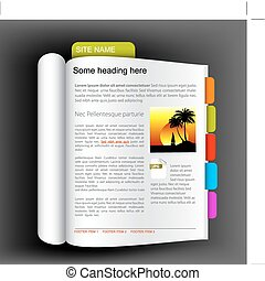 Web site template - Open book with colorful bookmarks