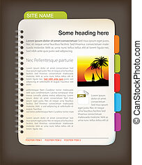 Web site template - Open notepad with colorful bookmarks