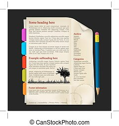 Web site template - sheet of paper with tabs and pencil