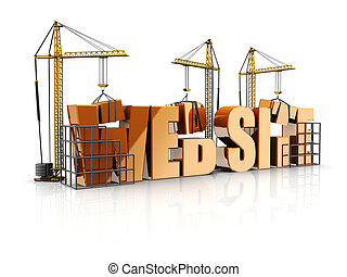 Web site - Text web site with cranes, 3d