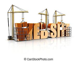 Web site - Text web site with cranes, 3d