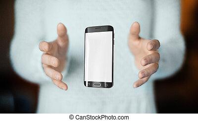 web, smartphone, mani, collegamento