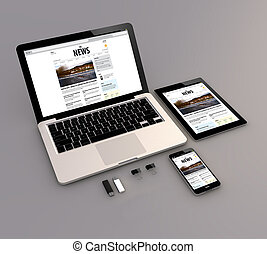 web, smartphone, tavoletta, laptop, interfaccia, notizie