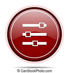 web, smartphone, webdesign, knoop, vrijstaand, ronde, glijder, applications., glanzend, internet, cirkel, icon., rood