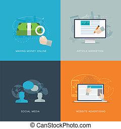 web, sociaal, advertisiment, plat