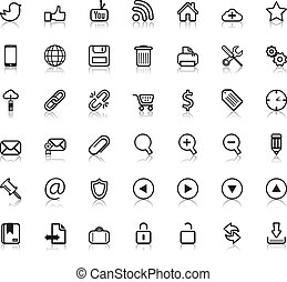 web, sociaal, iconen