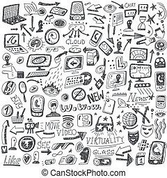 web, social media, devices - doodles