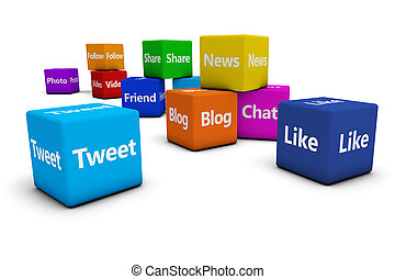Web Social Media Signs On Cubes - Web and Internet concept...