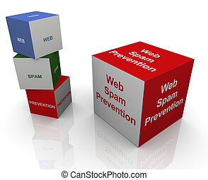Web spam prevention - 3d buzzword textboxs of web spam...