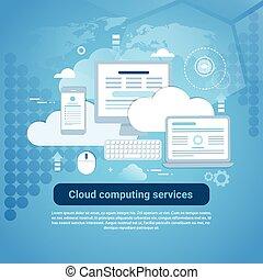web, spazio, calcolare, sagoma, servizi, copia, bandiera, nuvola
