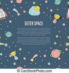 web, spazio esterno, vettore, bandiera, cartone animato
