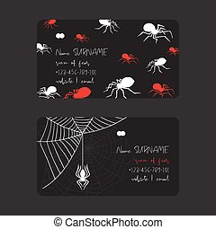 Web spider pattern vector business card spidery halloween...