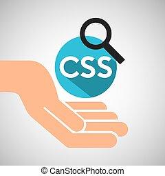 web, sprache, hand, optimization, technologie, css