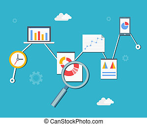 Web statistics and analytics infographics diagram vector...