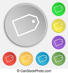 Web stickers icon sign. Symbol on eight flat buttons. Vector