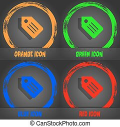 Web stickers, tags and banners icon. Fashionable modern style. In the orange, green, blue, red design. Vector