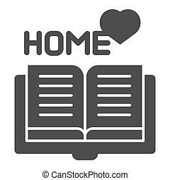 web, stijl, 10., vast lichaam, favoriet, vrijstaand, illustratie, eps, app., vector, glyph, ontworpen, thuis, icon., lezende , ontwerp, boek, white.